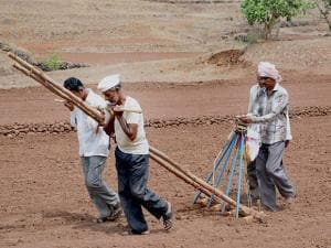 Farmers sowing paddy seeds on a field at Meni village in Shirala Tehsil of Sangli, Maharashtra