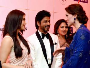 Catherine, Duchess of Cambridge meeting actors Aishwarya Rai Bachchan, Madhuri Dikshit and Shahrukh Khan during the Bollywood theme dinner in Mumbai.