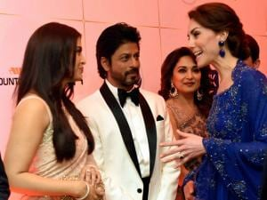 Catherine, Duchess of Cambridge meeting actors Aishwarya Rai Bachchan, Madhuri Dikshit and Shahrukh Khan during the Bollywood_theme dinner in Mumbai .