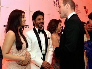 Prince William, Duke of Cambridge and Catherine, Duchess of Cambridge meeting actors Aishwarya Rai Bachchan and Shahrukh Khan during the Bollywood theme.