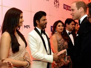 Prince William, Duke of Cambridge  meeting actors Aishwarya Rai Bachchan, Madhuri Dikshit and Shahrukh Khan during the Bollywood theme dinner in Mumbai.