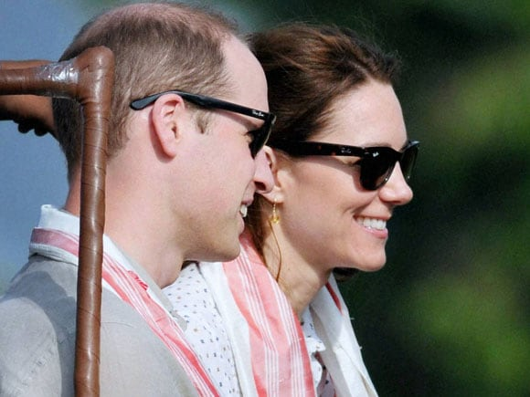 Prince William, Duke of Cambridge and his wife Catherine (Kate), Duchess of Cambridge on their arrival, at the Bahori Range of Kaziranga National Park, Assam