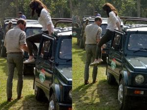 Combo- Prince William, Duke of Cambridge and his wife Catherine (Kate), Duchess of Cambridge jumps from a jeep during Safari ride inside the Kaziranga National Park of Assam_01