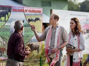 Prince William, Duke of Cambridge and his wife Catherine (Kate), Duchess of Cambridge arrive at the Bahori Range of Kaziranga National Park Assam