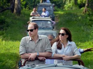 Prince William, Duke of Cambridge and his wife Catherine (Kate), Duchess of Cambridge enjyoing the jeep safari  inside the Kaziranga National Park of Assam.