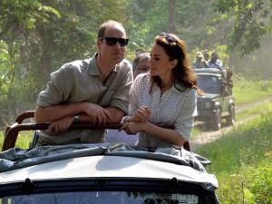 Prince William, Duke of Cambridge and his wife Catherine (Kate), Duchess_of Cambridge enjyoing the jeep safari  inside the Kaziranga National Park of Assam
