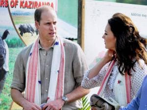 Prince William, Duke of Cambridge and his wife Catherine (Kate), Duchess of Cambridge on their arrival at the Bahori Range of Kaziranga National Park Assam