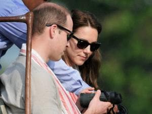 Prince William, Duke of Cambridge and his wife Catherine (Kate), Duchess of Cambridge prepare to leave on a safari in Kaziranga National Park, Assam