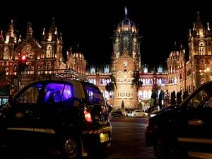 Historic railway station Chhatrapati Shivaji Maharaj Terminus is seen before Earth Hour, in Mumbai