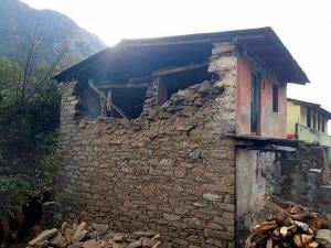 A damaged house at the earthquake affected Kalimath Village in Rudraprayag district of Uttarakhand
