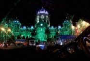 A view of CST station illuminited in green light ahead of Eid in Mumbai