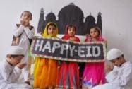 School children wishing Eid