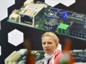 German exhibitor during the Electronica India 2015 exhibition  at Pragati Maidan