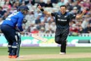 Trent Boult celebrates after bowling England's Jason Roy caught Martin Guptill