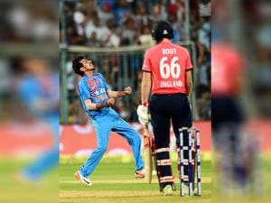 India's Yezuvendra Chahal celebrate the wicket of Joe Root during the 3rd T20 between India and England