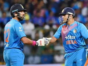 M S Dhoni and Yuvraj Singh during the 3rd T20 between India and England