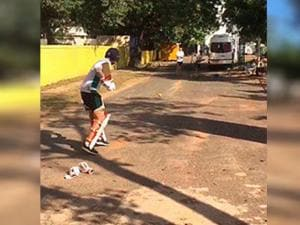 Joe Root practice on the road near M A Chidambaram Stadium