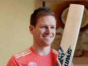 Captain of the England team Eoin Morgan during a press conference in Mumbai