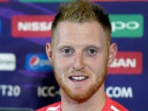 England's Ben Stokes interacts with the press in Mumbai