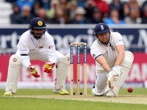 England's Jonny Bairstow plays a shot against Sri Lanka during day one of the first cricket Test  at Headingley, Leeds England
