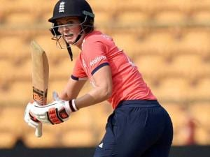 England Woman Cricketer Charlotte Edwards plays a shot during the ICC Woman's World T20 match against Bangladesh at Chinnaswamy Stadium
