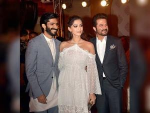 Harshvardhan Kapoor with his sister and actor Sonam Kapoor, his father and actor Anil Kapoor