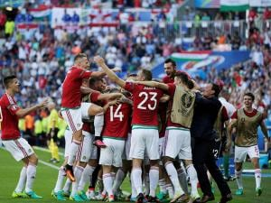 Hungary players celebrate after scoring the opening goal during the Euro 2016