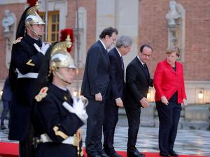 Spanish Prime Minister Mariano Rajoy Italian Prime Minister Paolo Gentiloni French President Francois and German Chancellor Angela Merkel pose for photographers