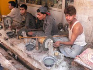 Marble Grinding Near Taj Mahal