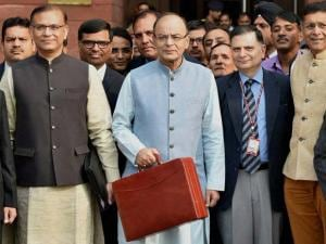 Finance Minister Arun Jaitley along with his Budget Team