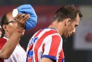 Atletico De Kolkata player Josemi comes out from ground after being injured