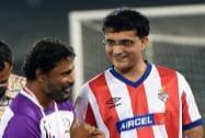 Former Indian cricket captain and co-owner of ISL franchise Atletico de Kolkata Sourav and bollywood director Sujit Sarkar