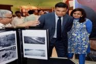 JSW group CMD Sajjan Jindal along with Chairperson JSW foundation, Sangita Jindal during an exhibition