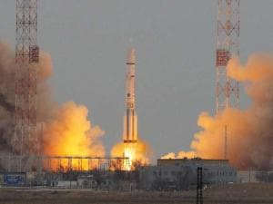 The Proton-M rocket booster blasts off at the Russian leased Baikonur cosmodrome, Kazakhstan
