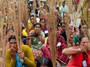 Women farmers protesting against the Karnataka government