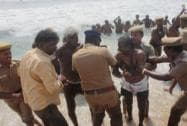 Police detain farmers who were agitating at Marina beach in Chennai
