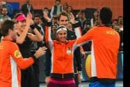 Micromax India Aces players celebrate the victory  against Singapore Salmmers