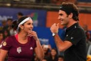 Micromax India Aces players Sania Mirza and Roger Federer during their mix doubles match