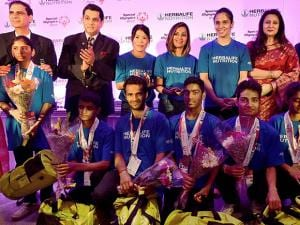 Boxer Mary Kom and Ace shuttler Saina Nehwal at a felicitation function of Indian athletes returning home from World Winter Games 2017 in Australia