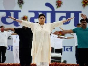 Smriti Zubin Irani, Union HRD minister at Lal Parade Ground in Bhopal