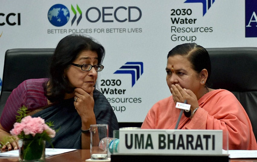 Union Water Resources, River Development, Ganga Rejuvenation Minister, Uma Bharti, Immediate, past President, FICCI, Naina Lal Kidwai, Director, Actor,  Environment activists, Shekhar Kapoor, FICCI seminar, Water Risk, Water Stewardship