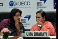 Union Water Resources, River Development and Ganga Rejuvenation Minister, Uma Bharti with Immediate past President, FICCI, Naina Lal Kidwai
