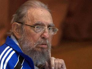 Fidel Castro sits during the closing ceremonies of the 7th Congress of the Cuban Communist Party