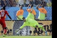 Switzerland goalkeeper Diego Benaglio is beaten by a shot from Argentina's Angel di Maria