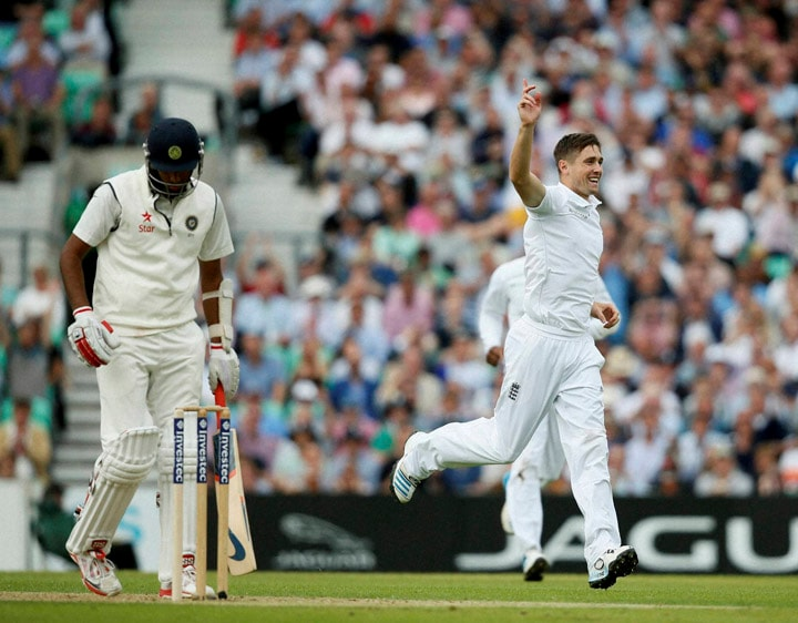 England's, Chris Woakes, celebrates, taking, wicket, India's, Ravichandran Ashwin