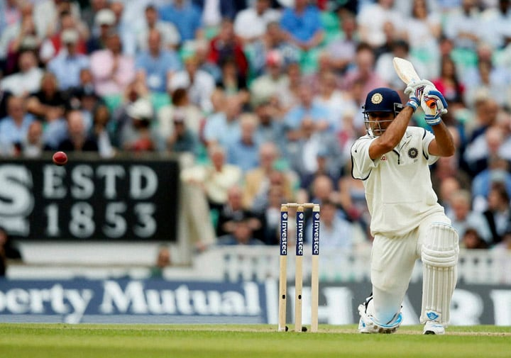 India's, MS Dhoni, hits, runs off,  bowling, England's, Stuart Broad
