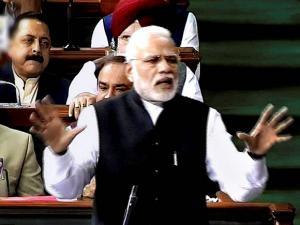 Narendra Modi speaks in Lok Sabha, in New Delhi