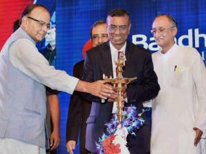 Union Finance Minister Arun Jaitley with Chandra Shekhar Ghosh
