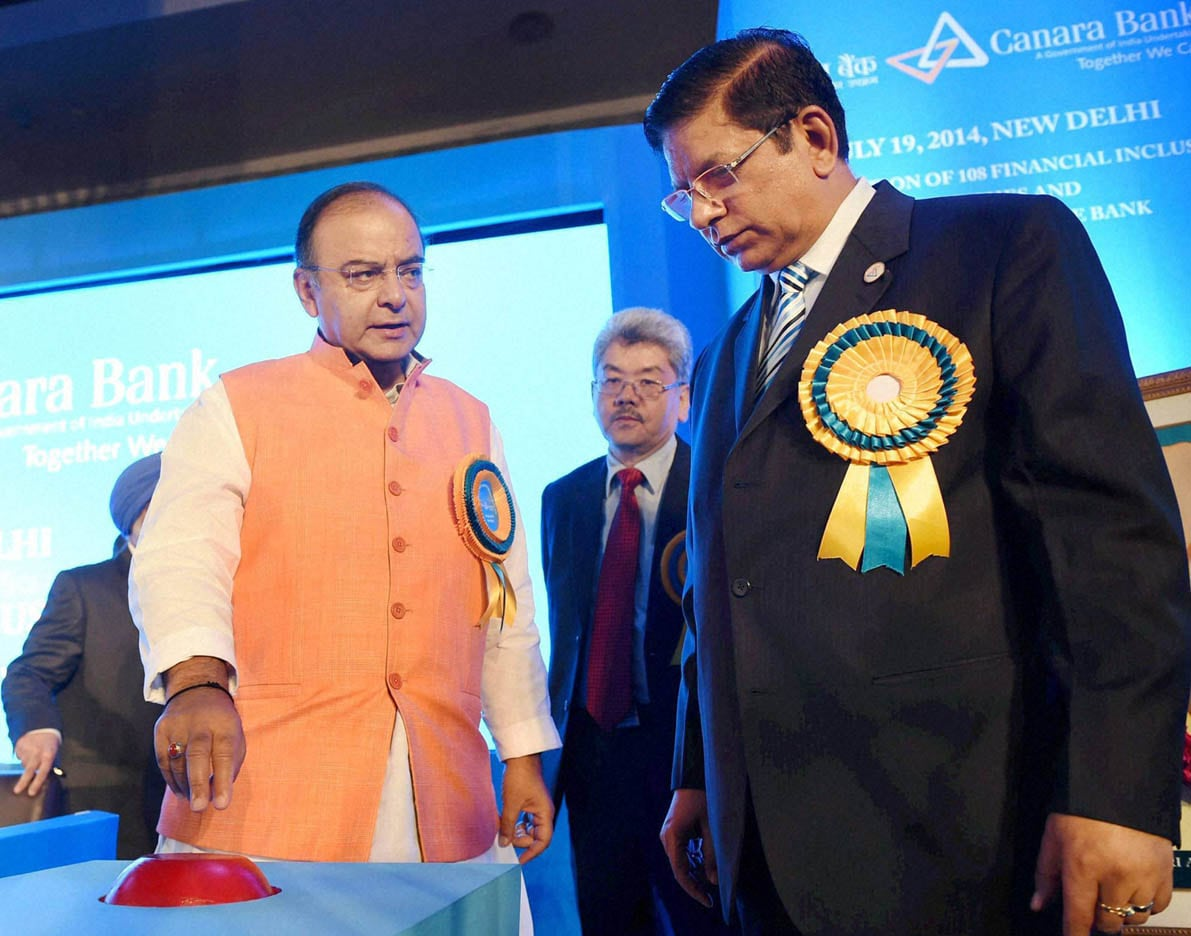 Union Finance Minister, Arun Jaitley, arrives, inauguration, 5011th branch, Canara Bank, New Delhi