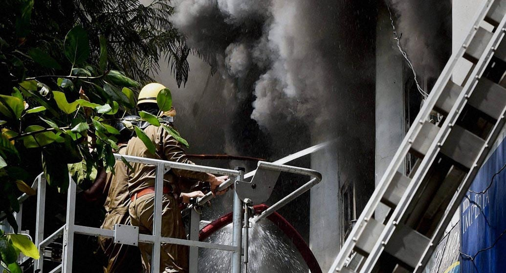 Fire, personnel, dousing, fire, broke, out, Rama Building, Connaught, Place, New Delhi